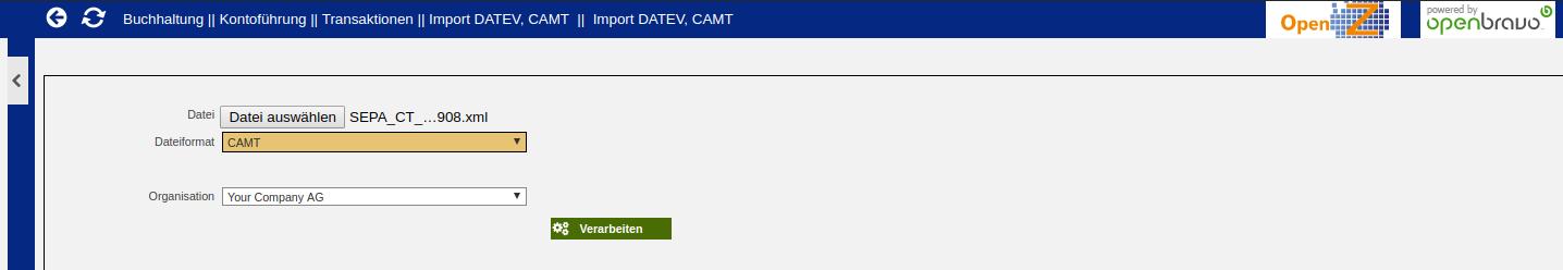 CAMT Import