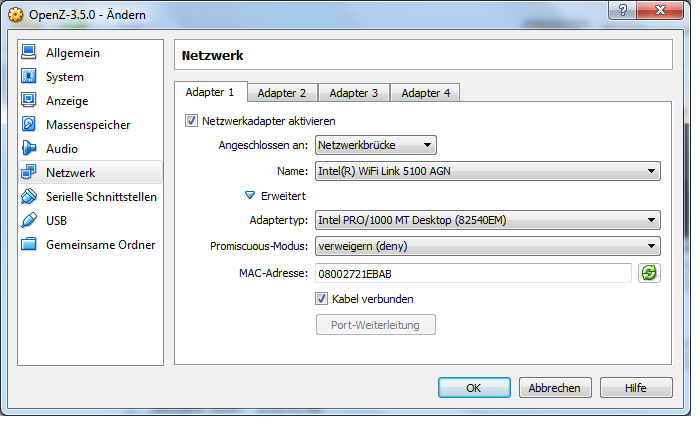 VM Konfigurationsmenü Netzwerk