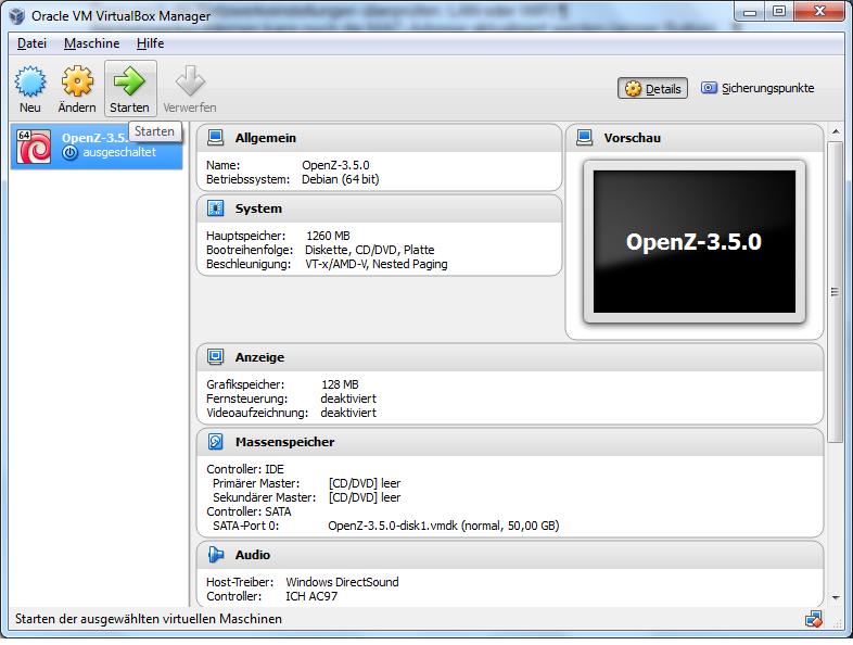 VirtualBox Manager VM Übersicht
