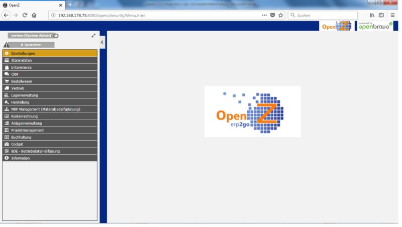 OpenZ Oberfläche