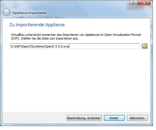 Appliance importieren Dateiauswahl