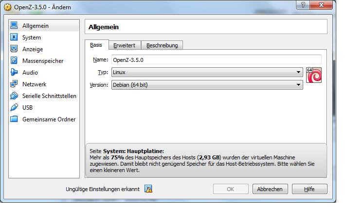 VM Konfigurationsmenü Allgemein