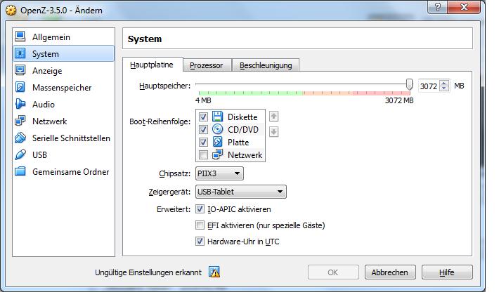VM Konfigurationsmenü System