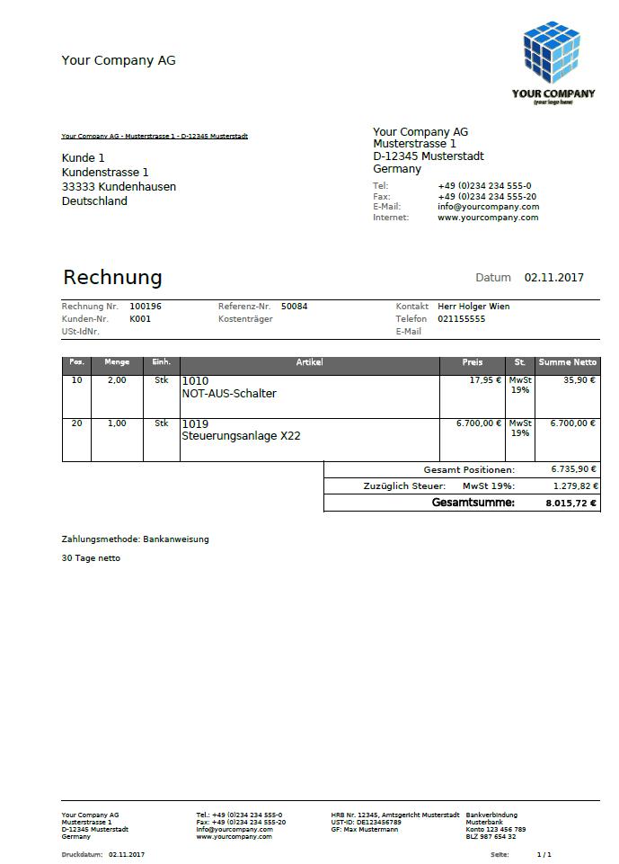 Reportvorlage Rechnung
