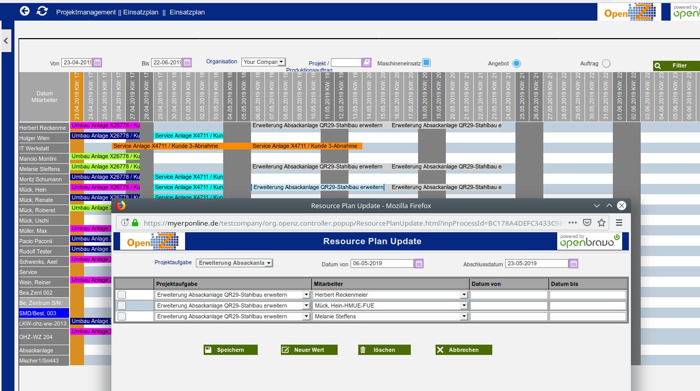 Projekteinsatzplan Flexible Umplanung