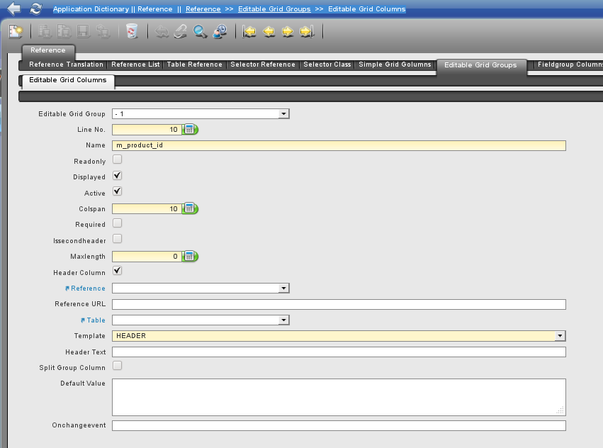Editable Grid Column Header