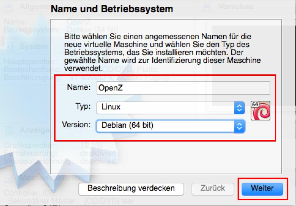 Name & Betriebssystem