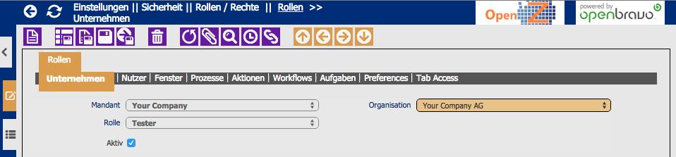 Organisation wählen