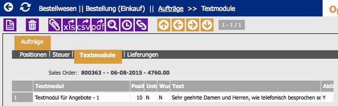 Tabellenansicht Textmodule