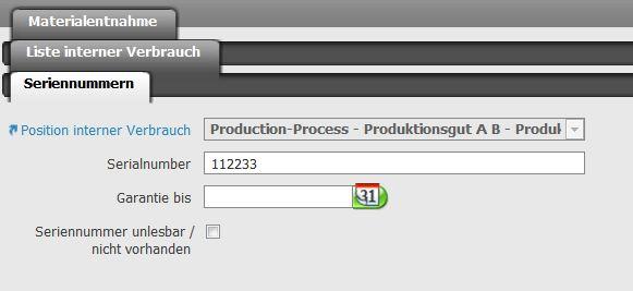 Seriennummer von Produktionsgut