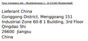 Beispielanschrift China Druckansicht mit Zeilenumbruch für die Stadt