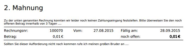 Report Mahnungen